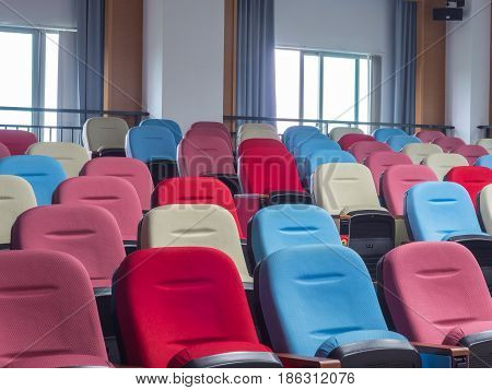 Colored Seats In A Classroom Of The Public Library