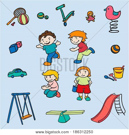 Sketch colored children amusements collection with active kids toys badminton playground equipment on light background isolated vector illustration