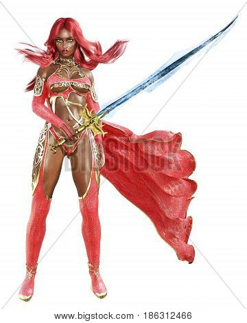 Young beautiful 3D woman warrior red sexy dress snakeskin.Redhead bright makeup holding powerful sword.Girl standing candid provocative aggressive pose.