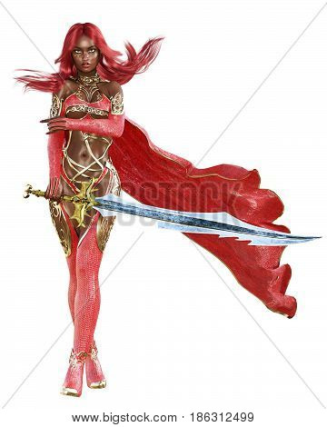 Young beautiful 3D woman warrior red sexy dress snakeskin.Redhead bright makeup holding powerful sword.Girl standing candid provocative aggressive pose