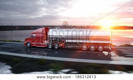 Gasoline tanker, Oil trailer, truck on highway. Very fast driving. 3d rendering