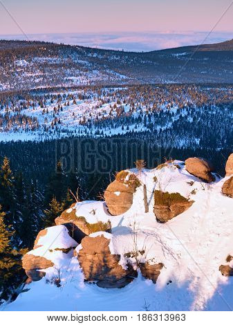 Rocky Peak Above Inverse Mist. Winter Cold Weather In Mountains,