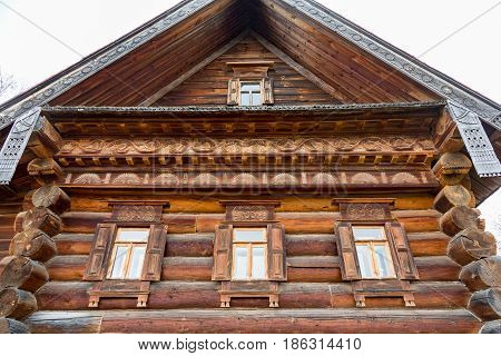 SUZDAL RUSSIA - APRIL 28 2017: Open air museum. Historic masterpiece of wooden architecture