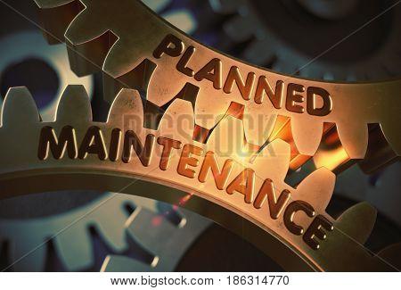 Planned Maintenance on Golden Cogwheels. Planned Maintenance on Mechanism of Golden Cog Gears. 3D Rendering.