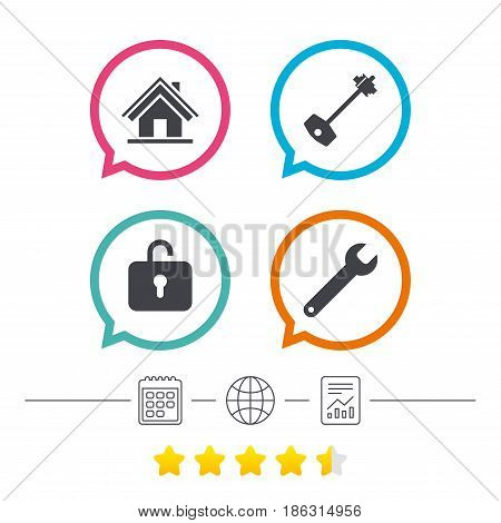 Home key icon. Wrench service tool symbol. Locker sign. Main page web navigation. Calendar, internet globe and report linear icons. Star vote ranking. Vector