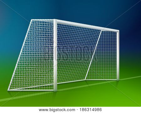 Soccer goal post with net side view. Association football goal on field. Best vector illustration for soccer sport game football championship gameplay etc