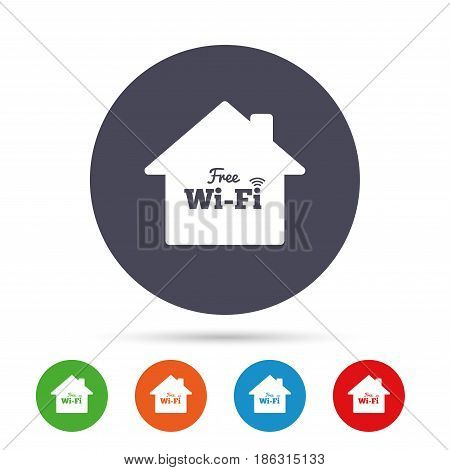 Home wifi sign. Wifi symbol. Wireless Network icon. Wifi zone. Round colourful buttons with flat icons. Vector