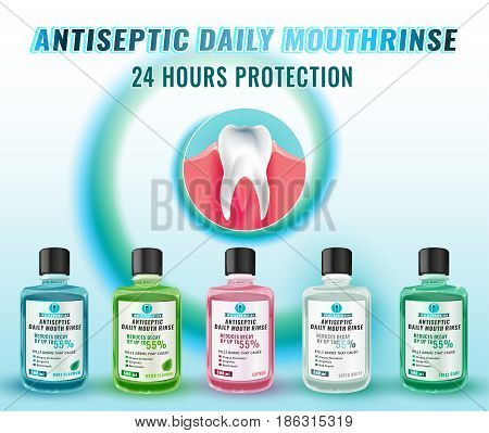 Teeth hygiene vector illustration with mouth rinse bottles. Useful for poster, leaflet, brochure or ad graphic design. Daily preventive care concept.