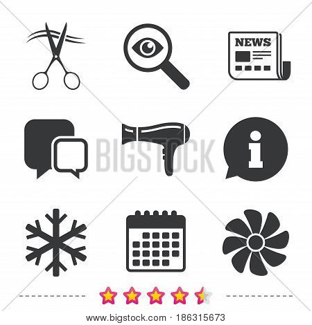Hotel services icons. Air conditioning, Hairdryer and Ventilation in room signs. Climate control. Hairdresser or barbershop symbol. Newspaper, information and calendar icons. Vector