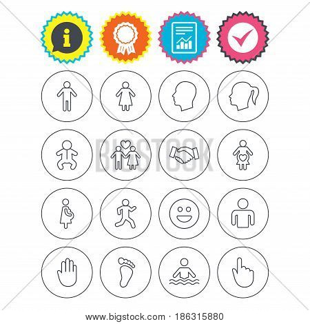 Report, information and award signs. Human icons. Male and female symbols. Infant toddler and pregnant woman. Happy smile face. Success deal handshake. Check tick symbol. Flat buttons. Vector