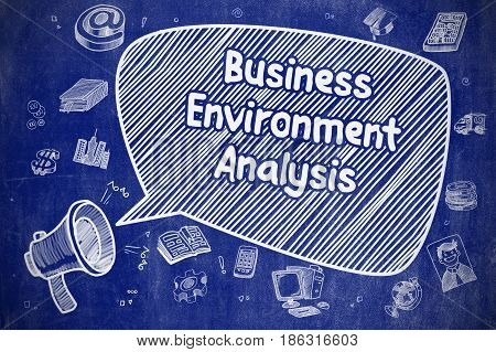 Shouting Bullhorn with Inscription Business Environment Analysis on Speech Bubble. Cartoon Illustration. Business Concept.