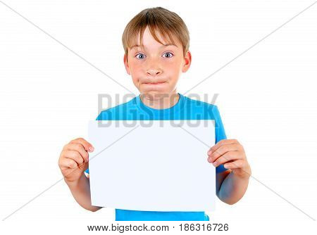 Surprised Kid with Blank Paper Isolated on the White Background