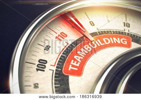 Teambuilding - Red Label on Conceptual Gauge with Needle. Business Mode Concept. Teambuilding Rate Conceptual Compass with Caption on the Red Label. Business or Marketing Concept. 3D Render.