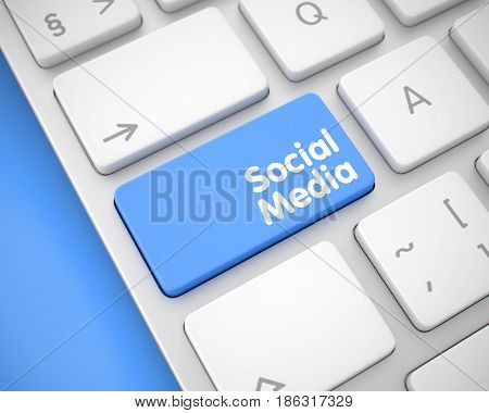 Online Service Concept: Social Media on the White Keyboard Background. Computer Keyboard Key Showing the Message Social Media. Message on Keyboard Blue Key. 3D.