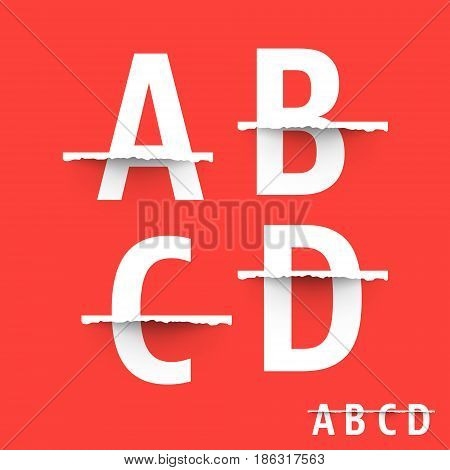 Alphabet font template. Set of letters A B C D logo or icon. Vector illustration.