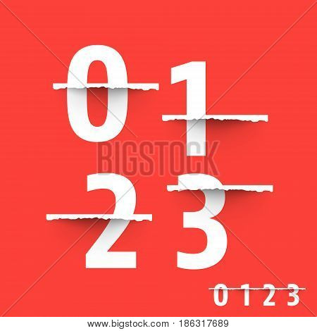 Alphabet font template. Set of numbers 0 1 2 3 logo or icon Vector illustration