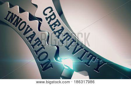 Creativity Innovation on Mechanism of Metal Cog Gears with Lens Flare - Business Concept. Text Creativity Innovation on Shiny Metal Gears - Interaction Concept. 3D Illustration .