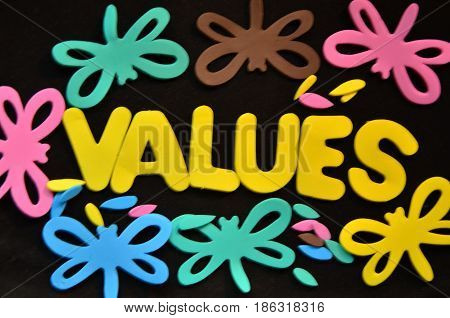 word values on a  abstract colorful background