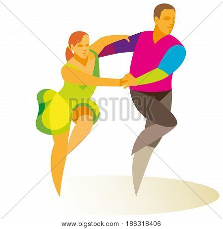 Young girl and young man gambly dance jive