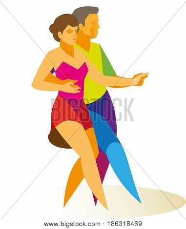 Professional dancers is young girl and her partner passionately and expressively dancing jive