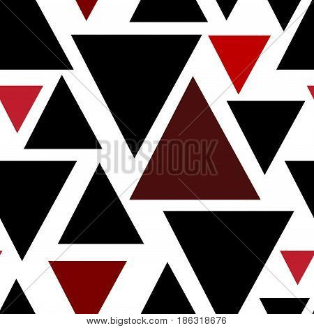 Triangles seamless pattern. Geometric simple design. Seamless background with black red Triangles on white Vector illustration stock vector.