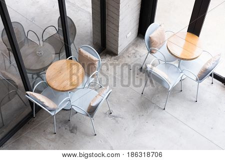 Table And Chair In Food Court, Cafe, Coffee Shop, Restaurant Interior, Top View