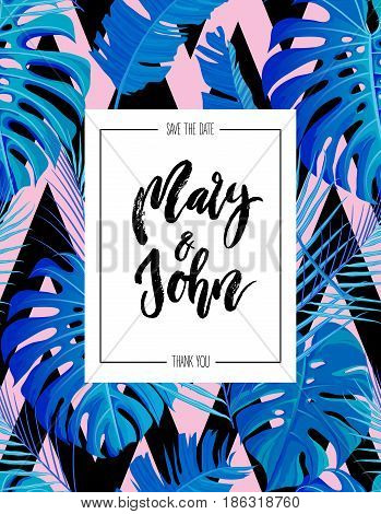 Tropical vertical design with neon pink blue colored exotic palm leaves seamless pattern and wedding save date invitation. Vector illustration stock vector.