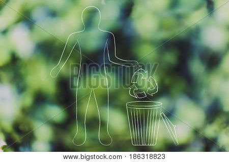 man with recycle symbol and bin concept of sustainable future and respsct for the environment