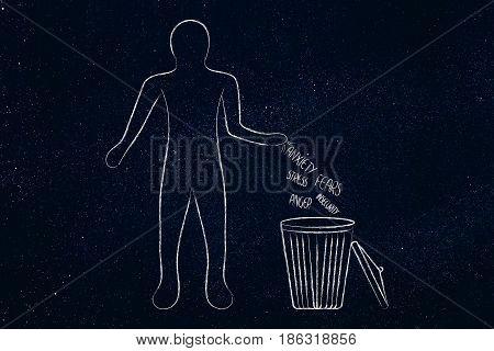 Man Throwing Bad Feeling In The Bin