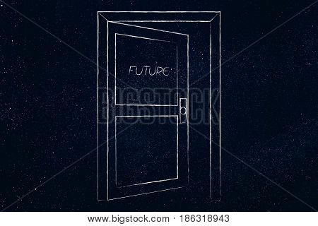Semi-open Door With Text Future On It