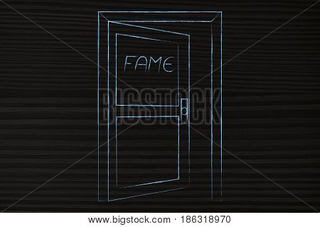 Semi-open Door With Text Fame On It