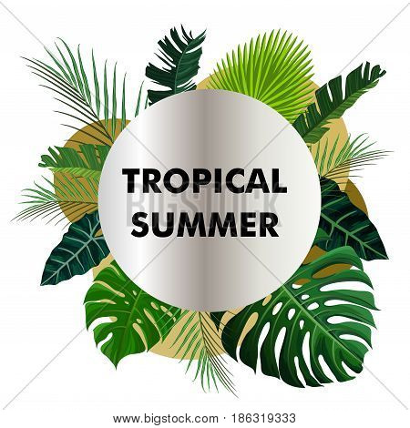 Tropical design with green exotic palm leaves on white golden silver circle frame and note hello summer. Vector illustration stock vector.