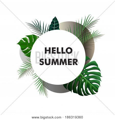 Tropical design with green exotic palm leaves on white circle frame and note hello summer. Vector illustration stock vector.