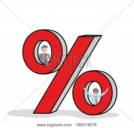 working little people with big percent signs. vector illustration for business design.
