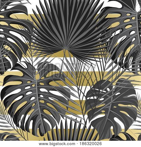 Seamless pattern with gold white grayscale colored tropical exotic palm leaves on abstract geometric stripe style background. Fabric, wrapping paper print. Vector illustration stock vector.