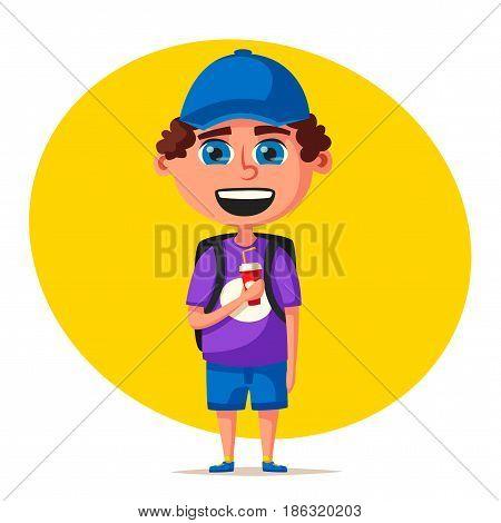 Child character. Cartoon vector illustration. Happy boy. Positive emotions. Friendly kid