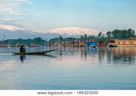 Srinagar India - April 25 2017 : Lifestyle in Dal lake People living in 'House boat' and using small boat 'Shikara' for transportation