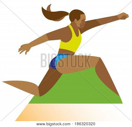 A young woman is African American athlete performs a run before a long jump