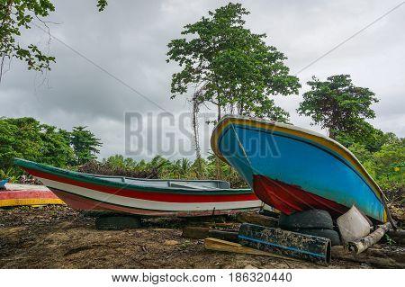 Fishing boats in Tanjung Aru village,Labuan island,Malaysia.