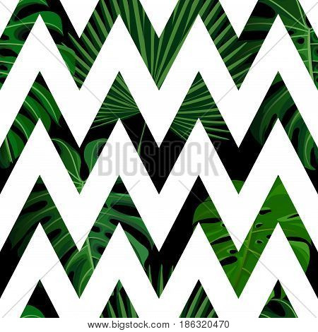 Seamless pattern with green tropical exotic palm leaves on abstract white black zigzag background. Fabric, wrapping paper print. Vector illustration stock vector.