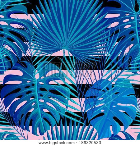 Seamless pattern with neon colored tropical exotic palm leaves on abstract geometric stripe black pink blue style background. Fabric, wrapping paper print. Vector illustration stock vector.