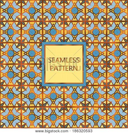 Bright Colorful Seamless Pattern With Golden Inserts. Ornamental, Mosaic Vector Background. Suitable