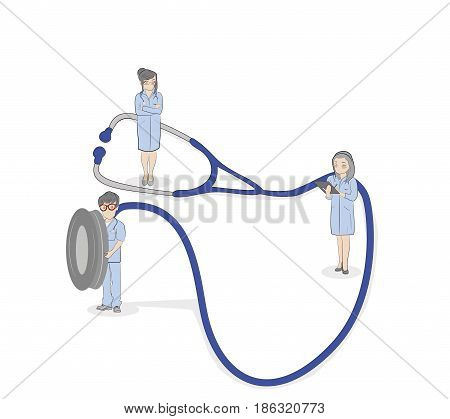 Medical plot. Little men holding a stethoscope. vector illustration.