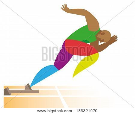 A young African American sprinter starts at a distance of 100 meters