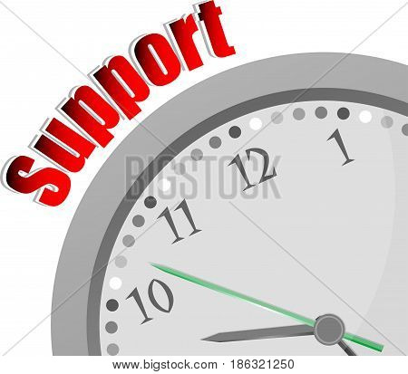 Text Support. Business Concept . Color Word And Modern Clock On White