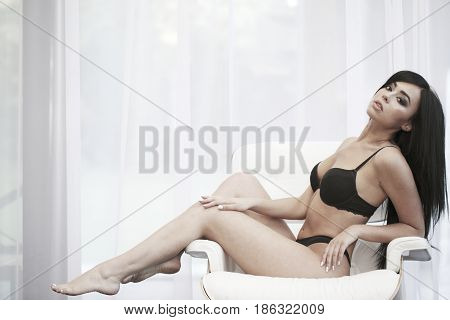 Brunette Woman In Sexy Lingerie