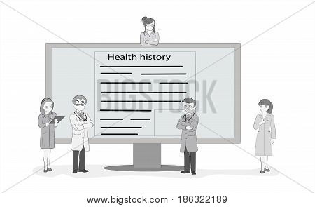 Doctors gathered at the monitor to discuss the diagnosis. Hand drawn cartoon vector illustration for medical design and infographics.
