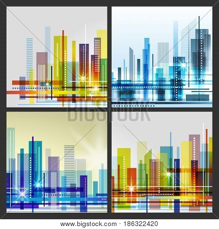 Modern City Life Abstract Background Design With Geometric Shapes. Conceptual Vector Illustration.