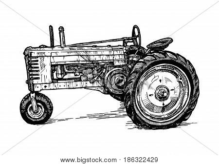 Vector hand drawn illustration of retro three-wheeled tractor in vintage engraved style. isolated on white background. Side view.