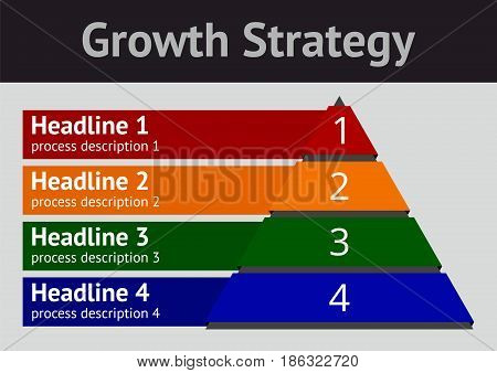 Growth Strategy diagram, a vector design template for a corporate chart, on a neutral grey background